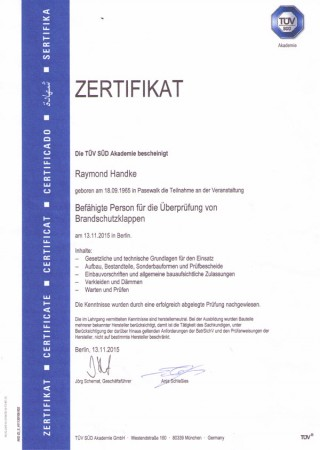 Zertifikat von Raymond Handke