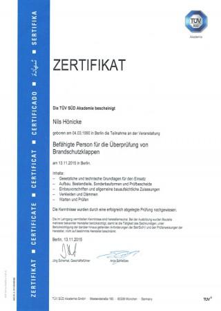 Zertifikat von Nils Hönicke