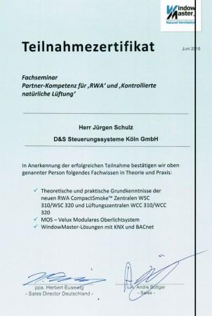 Zertifikat von Jürgen Schulz
