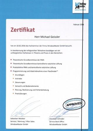Zertifikat von Michael Geissler
